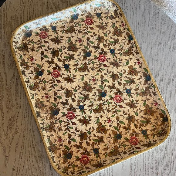 Vintage Isco Hand Painted Tray Floral Flowers